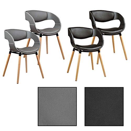 2/4/6/8x Design - Esszimmerstuhl Modell Leif, Grau / Schwarz, Leder, Design, Küchenstuhl, Esszimmerstühle, Stuhl (4 Stück, Grau)