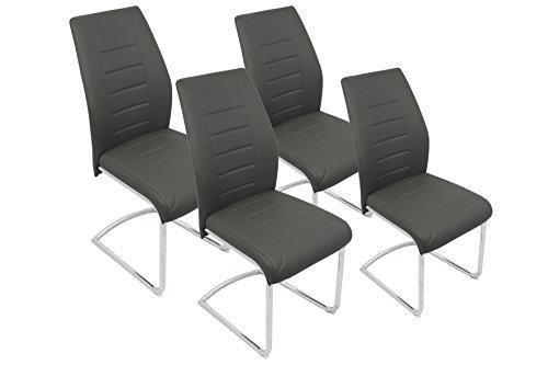 CAVADORE Schwingstuhl 4-er Set BRUNO/4x Freischwinger in modernem Design/Bezug in Grau - seitliche Applikation Schwarz/Gestell verchromt/61 x 45 x 90 cm (T x B x H)