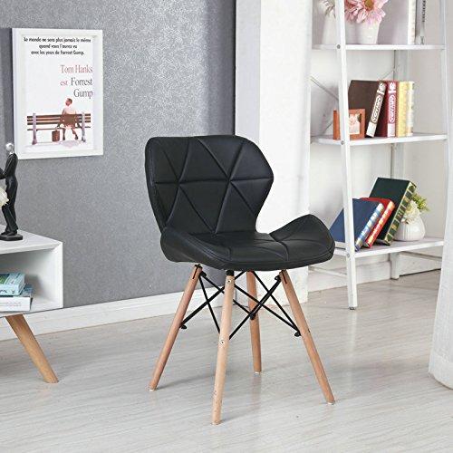 Panana 2er Wohnzimmerstuhl Eiffel Gepolsterter Stuhl Esszimmerstuhl Bürostuhl Holz - Schwarz