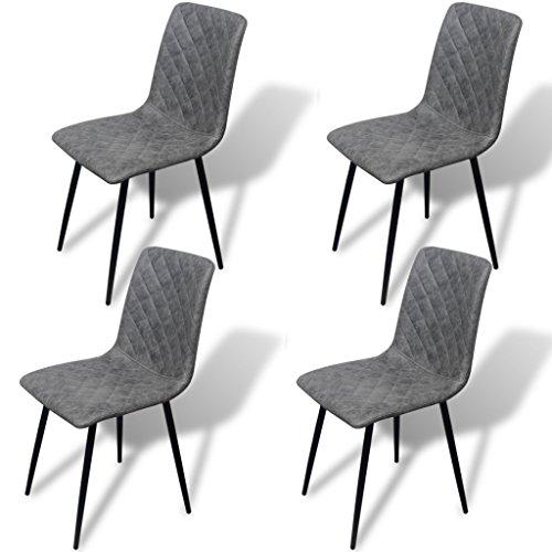 Festnight 4 Stücke Esszimmerstühle Kunstleder Essstuhl Küchenstühle Esszimmer Stuhl Kunstlederstuhl 44x56,5x87,5cm Grau