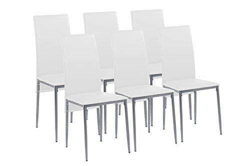 CAVADORE Esszimmerstuhl 6er Set MILAN/6x Küchenstuhl im modernem Design/Bezug Lederimitat Weiß/Gestell Metall Silber pulverbeschichtet/6 Stühle Weiß/40 x 96 x 49 cm (BxHxT)/6er Set