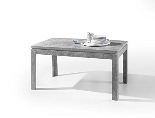 lifestyle4living Esstisch, Küchentisch, Esszimmertisch, Tisch, rechteckig, Beton-Optik, Hochglanz weiße Zarge, ausziehbar, erweiterbar