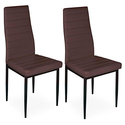 Homelux 2er-Set Stühle Esszimmerstühle Polsterstuhl (T x B x H) 43 x 43 x 97,5 cm Braun