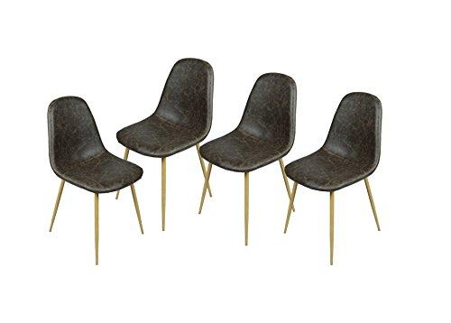 n.b.f Set aus 4Stühlen skandinavischen dunkelbraun Esszimmer Stühle Vintage-Küche aus PU Leder Dunkelbraun