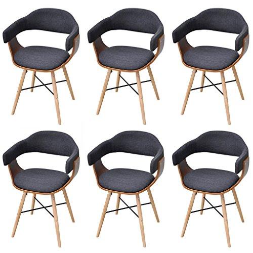 Festnight 6er-Set Bugholz-Esszimmerstühle Essstuhl Küchenstühle Stuhl Set Esszimmer Sitzgruppe mit Stoffbezug Dunkelgrau
