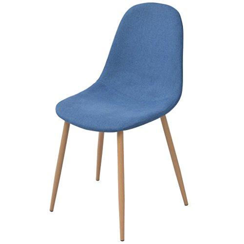 Festnight 6 Stücke Esszimmerstühle Essstuhl Set Sperrholzrahmen Stoff-Polsterung Küchenstuhl Esszimmer Sitzgruppe Stuhlset 45x55x85cm Blau