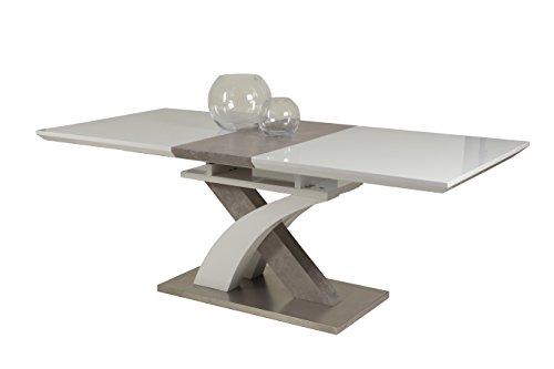Apollo 920184 Esstisch Vivian  Holzwerkstoff hgl weiߟ/betonoptik/es-optik, Klappeinlage, 160-200 x 90 x 76 cm