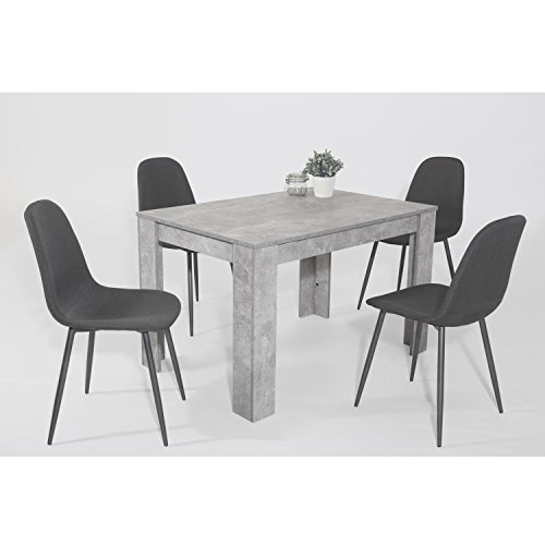 """Essgruppe Esstischset """"Tijuana"""" 5-teilig Tisch Beton + 4 Stühle Kunstleder grau"""