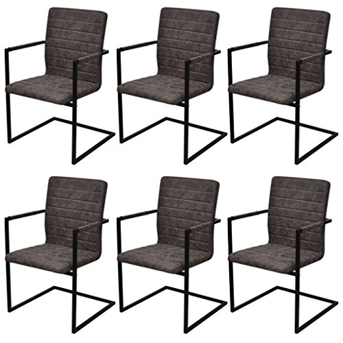 Festnight 6 Stücke Freischwinger Esszimmerstühle Essstuhl Küchenstuhl mit Armlehnen Schwingstuhl Braun Geriffelt