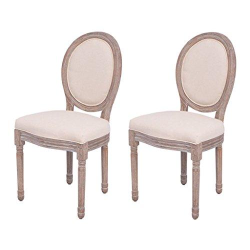 Festnight 2x Esszimmerstühle Küchenstuhl Stuhl Set Holzbeine Beige