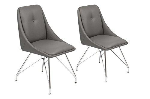 CAVADORE Esszimmerstuhl 2er Set ELEA / 2x moderne Stühle mit stilischer Sitzschale / Bezug Kunstleder GRAU /Gestell Metall verchromt / 66x86x60,5cm (BxHxT)