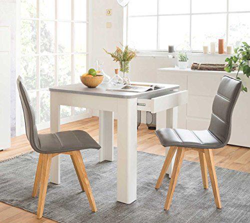 Tisch, Esszimmertisch, Esstisch, Küchentisch, quadratisch, weiss, weiß, Strukturbeton, Betonoptik, melaminbeschichtet, Maße: ca. 80/77/80 cm