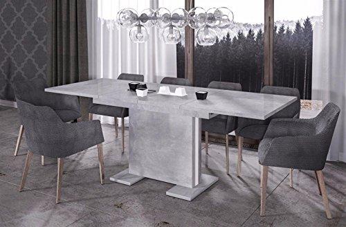 Endo Esstisch Linea 170 ausziehbar erweiterbar Küchentisch Säulentisch Tisch Funktion // Beton - Optik