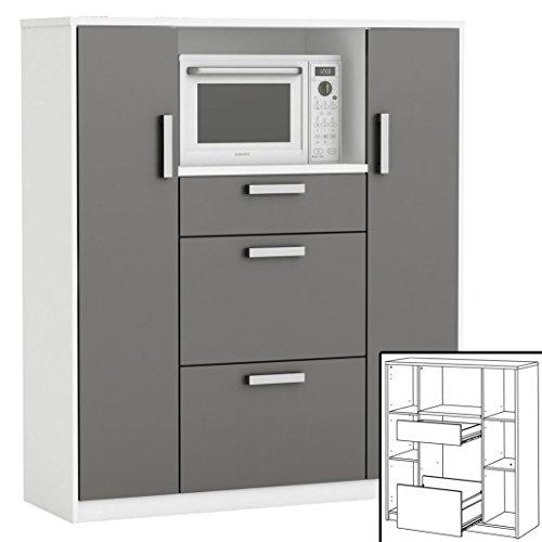 habeig moderner Küchenschrank #8540 weiß grau Miniküche Küchenzeile Küchenregal Schrank