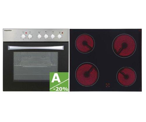 respekta Einbau Küche Küchenzeile Küchenblock 300 Korpus weiss, Fronten teilweise in Betonoptik Ceran Soft Close