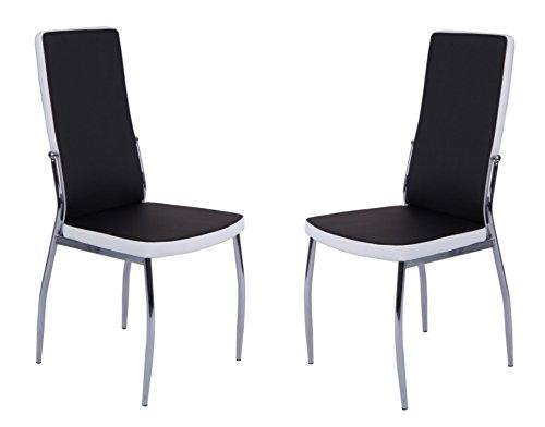 CAVADORE Küchenstuhl im 2er Set MATTIS/2x Esszimmer Stühlein modernem Design/Bezug Lederimitat Schwarz it weißer Applikation/Stuhl schwarz-weiß/Gestell Metall verchromt/54 x 44 x 101 cm (T x B x H)