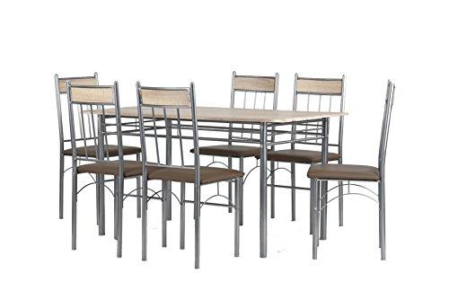 CAVADORE Tischgruppe Lola/Tisch in Sonoma Eiche foliert/6 Stühle mit Lederimitat in Cappuccino/Pflegeleicht/Tisch 140 x 70 x 74,5cm ; Esszimmerstühle 47 x 43 x 95cm (T x B x H)