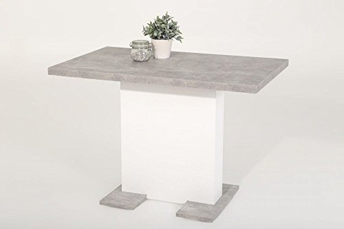 Esstisch Säulentisch BREH ausziehbar in Betonoptik / Weiß