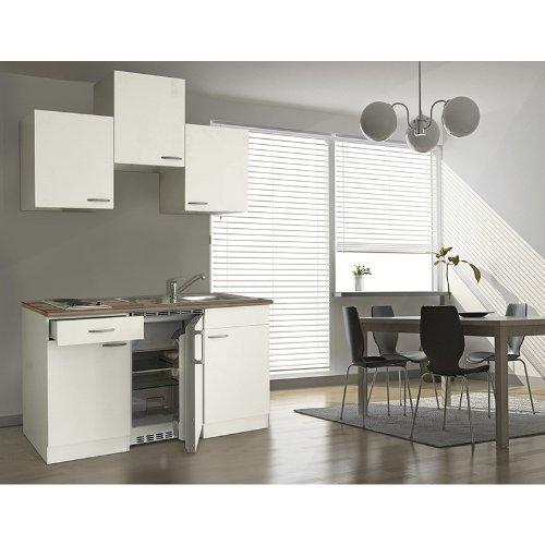 respekta KB150WW Single Küche Küchenzeile Küchenblock 150 cm WEISS mit Einbaukühlschrank, Einbauspüle, Kochmulde