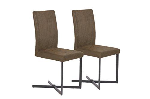 CAVADORE Schwingstuhl 2-er Set COLT/2x Esszimmerstuhl in modernem Design/Bezug Lederimitat im Vintage Look Braun/Gestell Metall Schwarz pulverbeschichtet/56 x 42 x 98 cm (T x B x H)