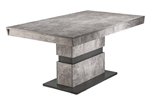 CAVADORE Esszimmertisch MARLEY/moderner Küchentisch 160 cm mit Auszugsfunktion auf 220 cm/Auszugstisch in Light Atelier Beton Optik grau/160-220 x 90 x 75cm (LxBxH)