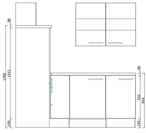 respekta Premium L-Form Winkel Küche Küchenzeile Eiche weiss 260x200cm Kühlkombi Ceran Umluft
