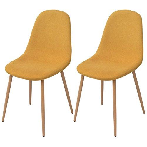 Festnight Esszimmerstühle 2 Stk. Essstuhl Set Küchenstühle Esszimmer Stuhl-Set 45 x 55 x 85 cm Gelb Stoff