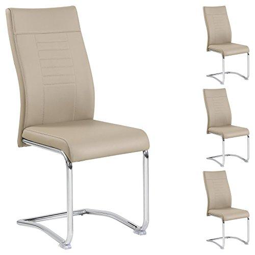 CARO-Möbel 4er Set Esszimmerstuhl Küchenstuhl Schwingstuhl LOANO, Gestell in chrom, Bezug aus Lederimitat in beige/braun