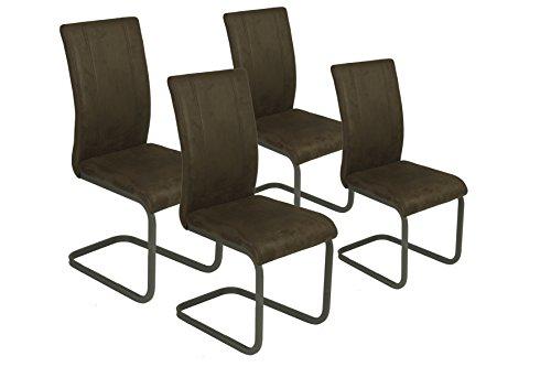 CAVADORE Schwingstuhl 4-er Set LILLY/4x Esszimmerstühle in modernem Design/Bezug Kunstleder im Vintage Look in Dunkelbraun/Gestell Metall dunkelgrau pulverbeschichtet/43 x 99 x 56cm (B x H x T)