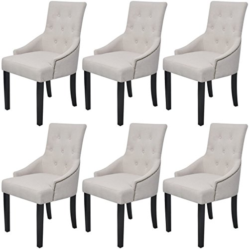 Festnight 6 Stk. Esszimmerstühle Polyester Essstuhl Küchenstühle Esszimmer Stuhl Polyesterstuhl mit Holzrahmen Stoffpolsterung 52x63x94cm Cremefarbe