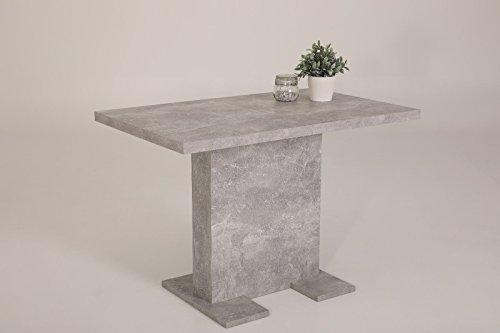 Esstisch Säulentisch - BUGSY - Ausziehtisch Tisch ausziehbar in Betonoptik