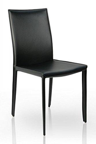 DuNord Design Esszimmerstuhl Stuhl VERONA schwarz Leder