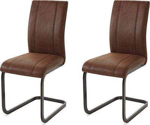 CAVADORE Esszimmerstuhl 2er Set MILA / 2x Freischwinger im Vintage Design / Bezug Lederimitat Braun / Gestell Metall schwarz pulverbeschichtet /  2 Stühle braun / 43 x 56 x 99 cm (BxHxT) / 2er Set