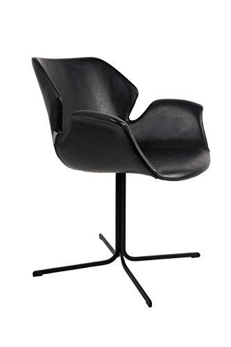Zuiver 1200139 Armchair Nikki Set of 2, Lederimitat, schwarz, 62 x 66 x 80 cm