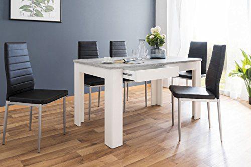 Tisch, Esszimmertisch, Esstisch, Küchentisch, rechteckig, Beton, Betonoptik, Strukturbeton, weiß, weiss, Maße: ca. 138/77/80 cm