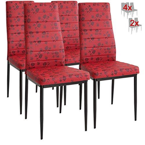 Albatros 3085 PARIS 4 x Designer-Stühle rot Polsterstühle Esszimmerstühle Stuhl SET Leder