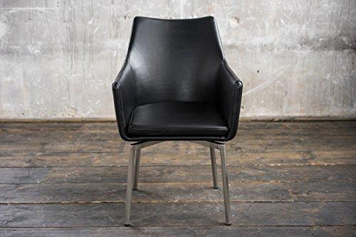 Stuhl Cali Sessel || Drehsessel || Drehstuhl || Esszimmerstuhl || Leder schwarz Füße Edelstahl