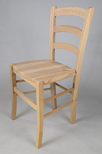 2er Set: Stühle für die Küche und Esszimmer im klassischen Stil robuste Struktur aus poliertem Buchenholz, unbehandelt und 100% natürlich, im natürlichen Farbton und mit einer Sitzfläche aus poliertem Holz. Set bestehend aus 2 Stühlen Venezia 38 By Tommychairs