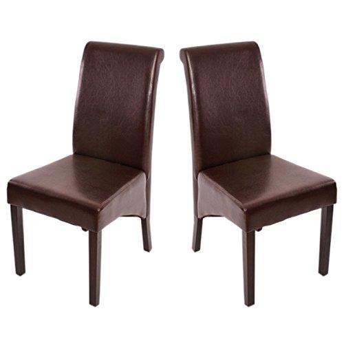 2x Esszimmerstuhl Lehnstuhl Stuhl M37 ~ Leder, braun, dunkle Füße