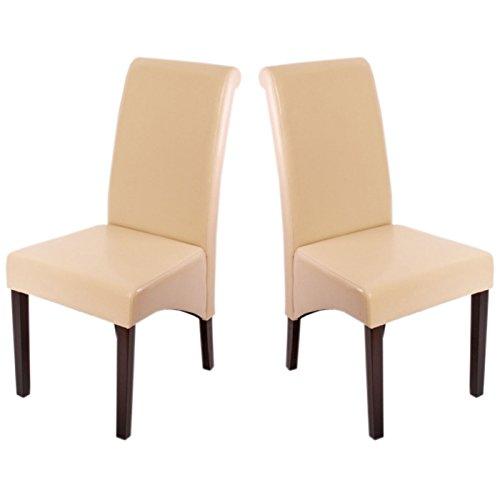 2x Esszimmerstuhl Lehnstuhl Stuhl M37 ~ Leder, creme, dunkle Füße