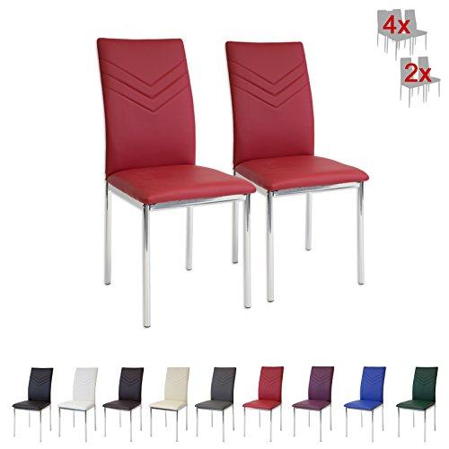 Albatros 2938 Verona Esszimmerstühle, 4-er Set, rot