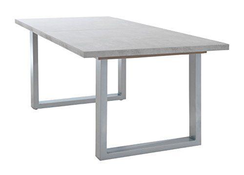 Esstisch Küchentisch Esszimmertisch INGMAR | 160x90 cm | Holz | Grau | Betonoptik | ausziehbar