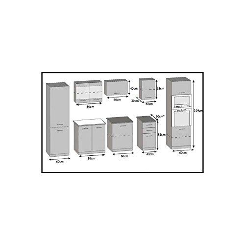 JUSTyou Infinity Küchenzeile Küchenblock Küche 300 cm Farbe: Weiß Hochglanz