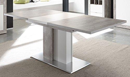 Esstisch 160 x 90 cm Betonoptik grau/ weiss matt