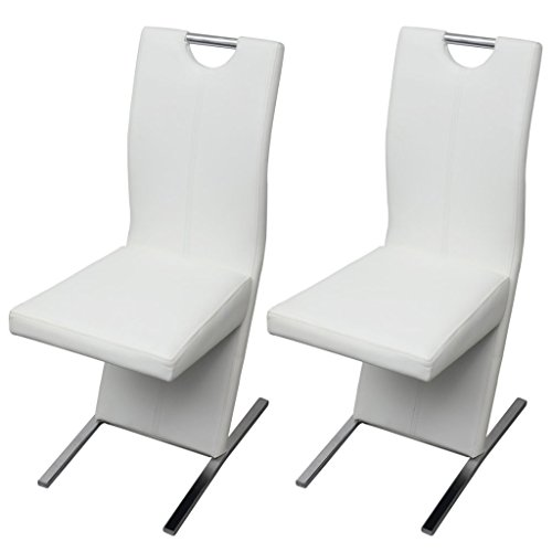 Festnight 2 Stücke Essstuhl Esszimmerstühle aus Kunstleder Stuhlset Küchenmöbel Stuhlgruppe Weiß