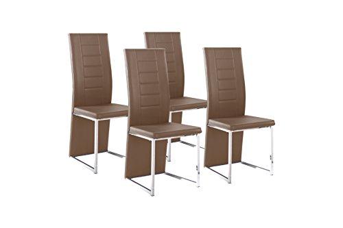 CAVADORE Esszimmerstuhl im 4-er Set ESTHER, 4x Stühle in modernem Design, Stuhlset Freischwinger, Bezug Lederimitat Cappuccino, Metallgestell verchromt, 54 x 42,5 x 103 cm (T x B x H)