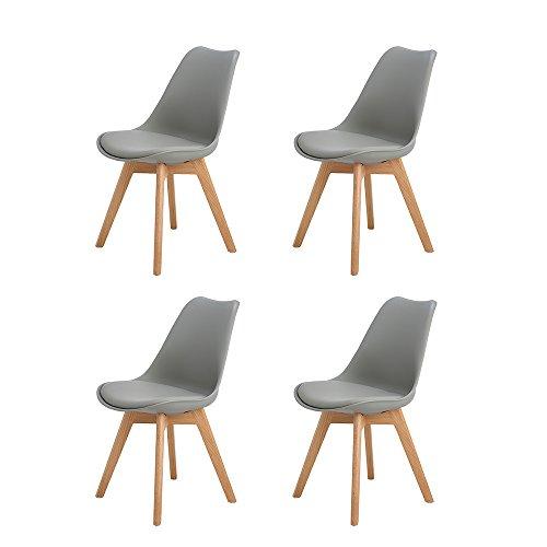 4er Set Esszimmerstühle mit Massivholz Eiche Bein, H.J WeDoo Küchen stühle mit Gepolsterter für Ess und wohnzimmer - Weiß