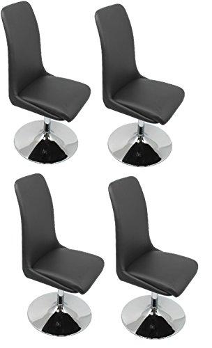 CAVADORE Esszimmerstuhl im 4er Set PALINA / 4x Drehstühle mit Standfuß / 360 Grad drehbarer Sitzschale / Bezug Kunstleder Schwarz / Fußteller Metall verchromt/ 45x98x56cm (BxHxT)