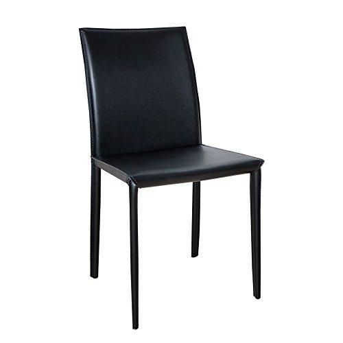 ECHT LEDER Stuhl MILANO schwarz Ziernaht Lederstuhl Lehnstuhl Esszimmerstuhl