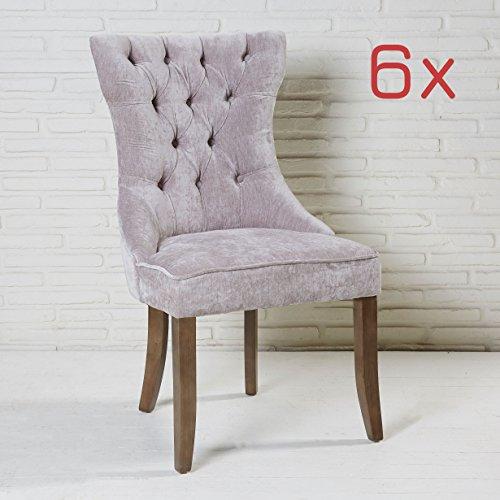 6er set esszimmerstuhl grau mit samtbezug und holzbeinen knpfe polsterstuhl 0 esszimmerst. Black Bedroom Furniture Sets. Home Design Ideas